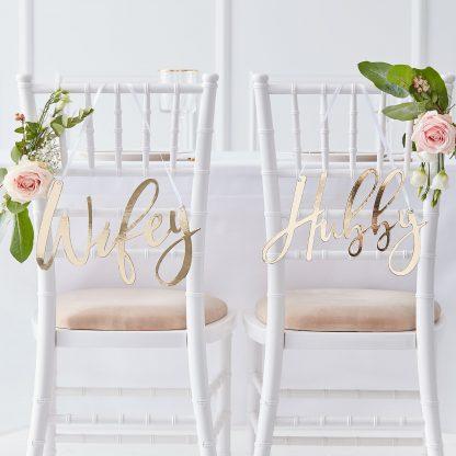 שלטים לחתונה hubby & wifey
