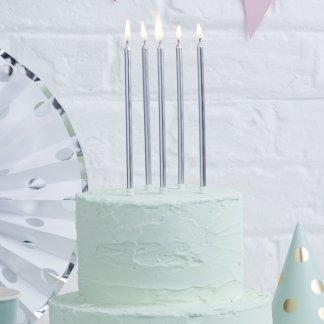נרות כסף לעוגה