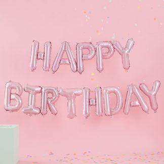 בלוני אותיות יום הולדת ורוד