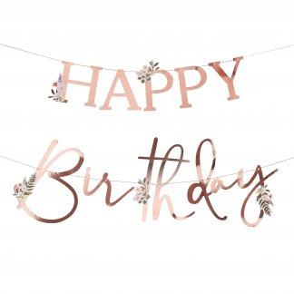 שלט אותיות יום הולדת רוז גולד