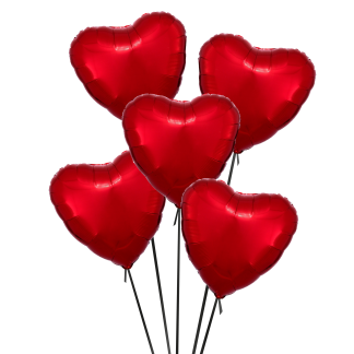 זר בלוני לבבות אדומים
