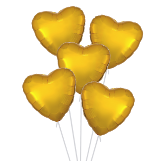 זר בלוני לבבות זהב