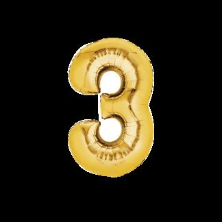 בלון ספרה 3 זהב