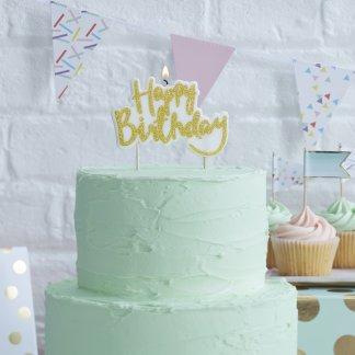 נר יום הולדת לעוגה זהב